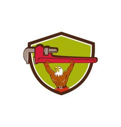 Bald eagle plumber monkey wrench shield cartoon vector