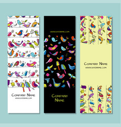 banners design funny birds background vector image