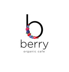 Berry logo b letter berries organic icon vector