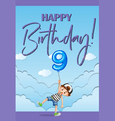 Birthday card template for nine years old vector
