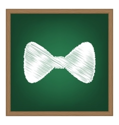 Bow Tie icon White chalk effect on green school vector image