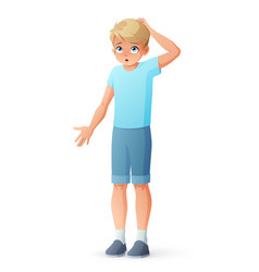 boy scratching head vector image