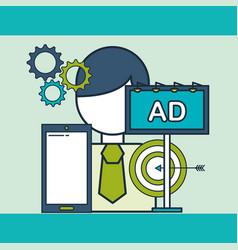 businessman phone advertising target digital vector image