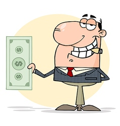 Businessman Shows Big Dollar vector image