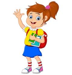 Cartoon girl bring books vector