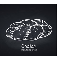Challah bread chalkboard style vector