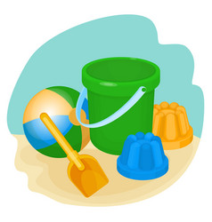 childrens toys and supplies for games vector image