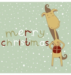 Christmas Card with Cartoon Horse vector image