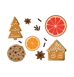 Christmas holiday sweets set american cookie vector