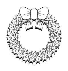 Christmas Wreath Outline vector image