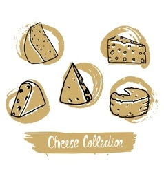 Circular logo with hand drawn cheese in vintage vector image vector image