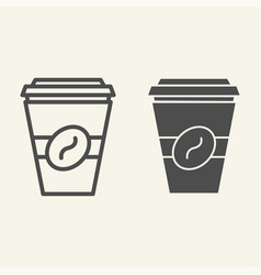 coffee to go line and glyph icon disposable cup vector image
