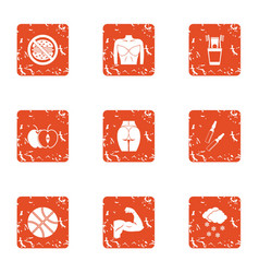 Committed icons set grunge style vector