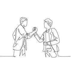 continuous line drawing young business man vector image