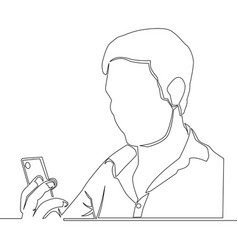 Continuous line man using a smartphone vector