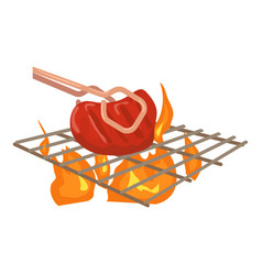 Cooking beef on barbecue icon cartoon style vector