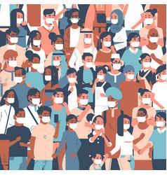 crowd people wearing medical masks novel vector image
