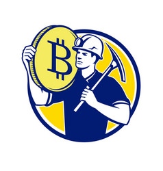 Cryptocurrency miner bitcoin circle retro vector