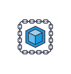 Cube inside chain blue icon blockchain vector
