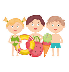 cute little kids with swimsuit and summer icons vector image