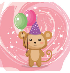 cute monkey with balloons air party kawaii vector image