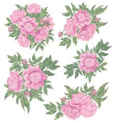 design set with floral arrangements vector image
