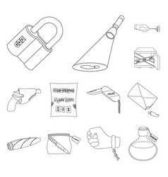 detective agency outline icons in set collection vector image