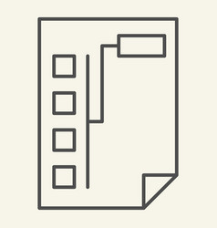 Document with graph thin line icon paper with vector