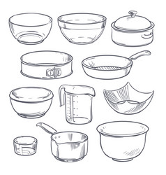 Doodle plastic and glass bowls pot and frying pan vector