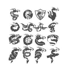 Dragon logo design collection mascot template set vector