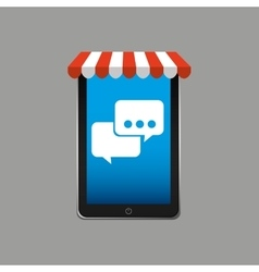 e-commerce concept hand holding smartphone bubble vector image