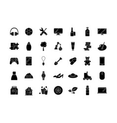 E commerce departments black glyph icons set on vector