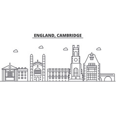 England cambridge architecture line skyline vector