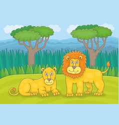 family lions vector image