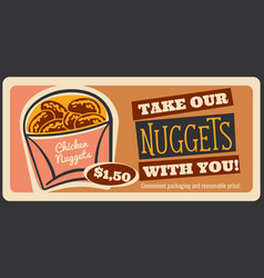 fast food chicken nuggets retro poster vector image
