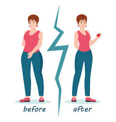fat and slim women weight loss success vector image