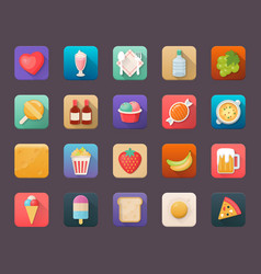 flat icons set of food and beverages vector image