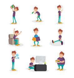 flat set of people with bad habits vector image