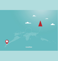 Flying origami paper plane and geolocation vector
