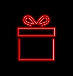 Gift box neon sign bright glowing symbol on a vector