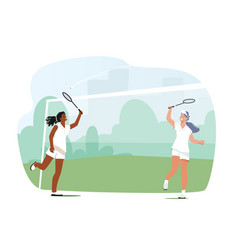 Girls playing badminton female players jumping vector