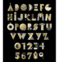 Gold geometric abstract alphabet font typography vector