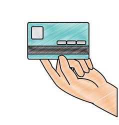 Grated business electronic credit card in the hand vector