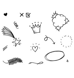 Hand drawn set elements arrow heart love star vector