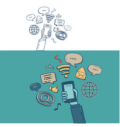 hand show mobile and social media with doodle vector image