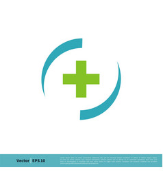 health cross in circle swoosh icon logo template vector image