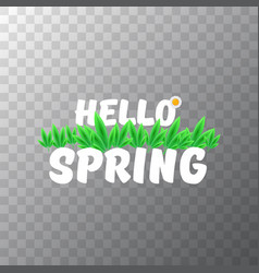 hello spring cut paper banner with text and vector image