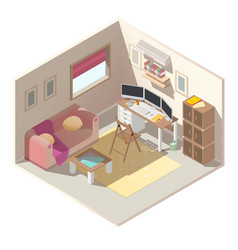 Home office in apartment isometric interior vector
