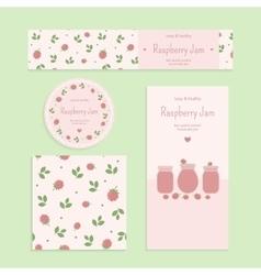 Homemade raspberry jam set vector