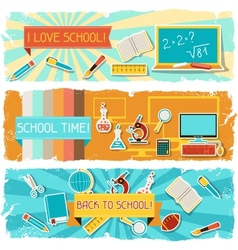 Horizontal banners with an school objects vector